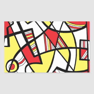 Edling Abstract Expression Yellow Red Rectangular Sticker