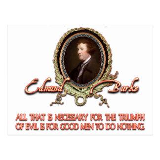 Edmund Burke Quote: Evil Triumphs Postcard