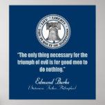 Edmund Burke Quote (Good v Evil) Poster