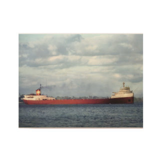 Edmund Fitzgerald Vintage Great Lakes Maritime Wood Poster