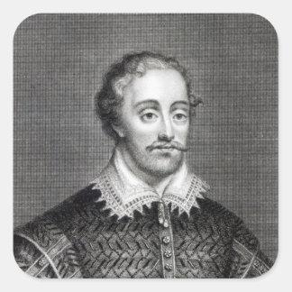 Edmund Spenser, engraved by Burnet Reading Square Sticker