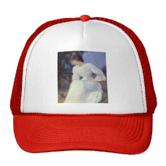 Edmund Tarbell- Portrait of a Woman in white Trucker Hats