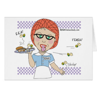 Edna The Lunch Lady Cartoons Greeting Card