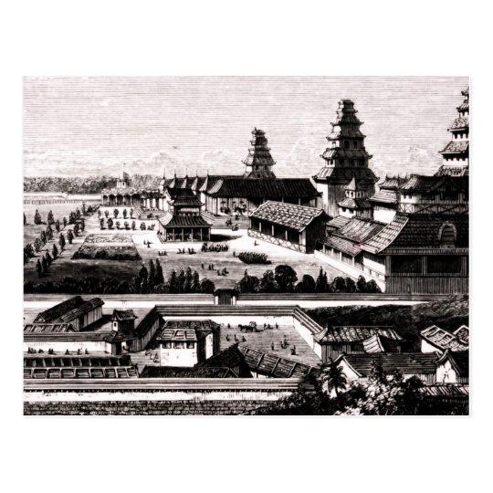 Edo Castle Tokyo Japan Vintage Engraving 1800s Postcard