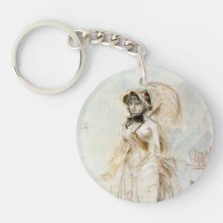 Edouard Manet-Young woman walking with umbrella Single-Sided Round Acrylic Key Ring