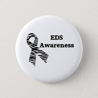 EDS Awareness Zebra Ribbon Button