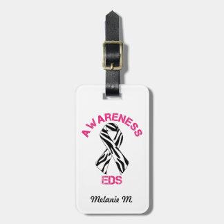EDS Awareness Zebra Stripe Ribbon Luggage Tag