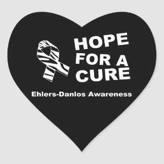 EDS Hope for a Cure Zebra Ribbon Heart Sticker