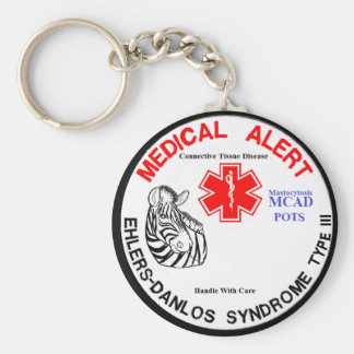 EDS Type 3 with POTS MCAD Medical Alert with Zebra Basic Round Button Key Ring
