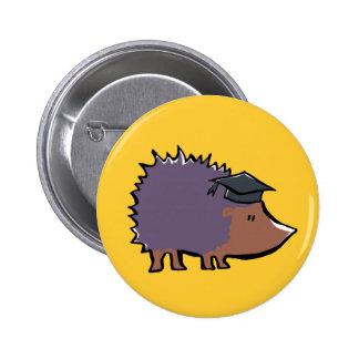 educated hedgehog 6 cm round badge