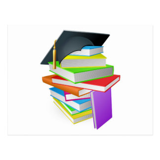 Education book pile graduation hat concept postcard