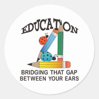 EDUCATION BRIDGING GAP ROUND STICKERS
