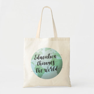 Education changes the world quote with globe tote bag