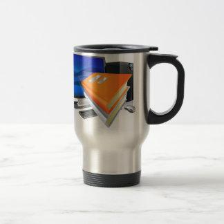 Education e-learning computer book concept coffee mugs