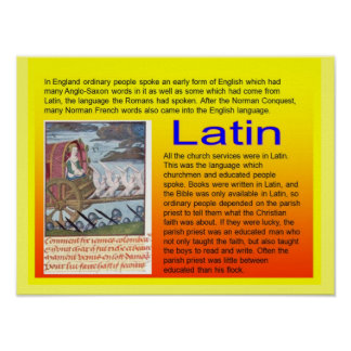 Education, History, Medieval use of Latin Poster