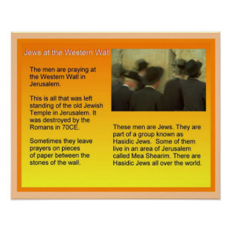 Education,  Judaism, Jews at the Western Wall Poster