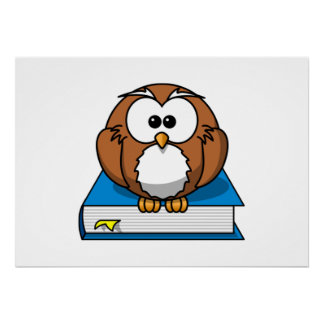 Education Owl on Blue Book Print
