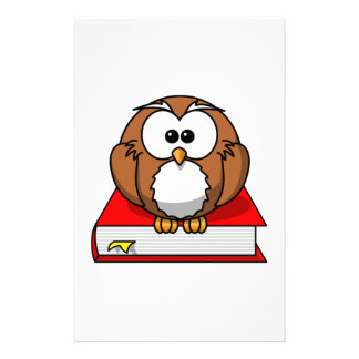 Education Owl on Red Book Stationery Paper