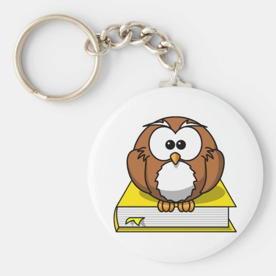 Education Owl on Yellow Book Basic Round Button Key Ring