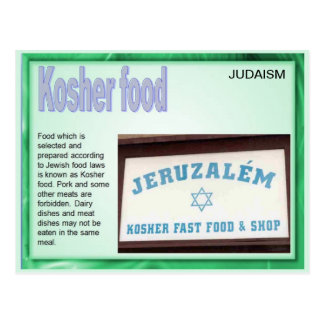 Education, Religion, Judaism, Kosher Food Postcard