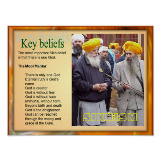Education, Religion, Sikhism Key Beliefs Poster