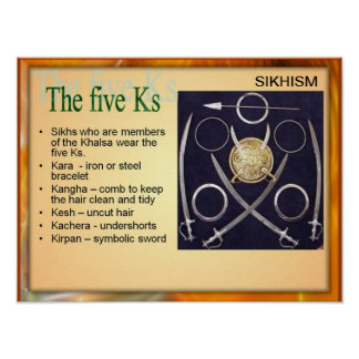 Education, Religion, Sikhism, the Five Ks Poster