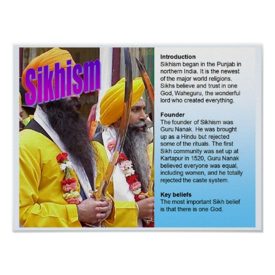 Education, World Religions, Sikhism fact file Poster