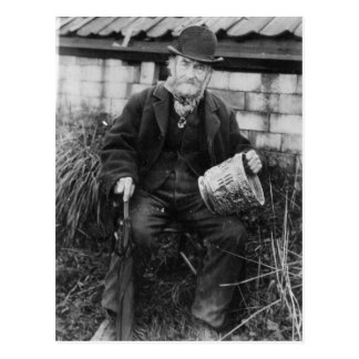 Edward Bingham holding one of his Castle Postcard