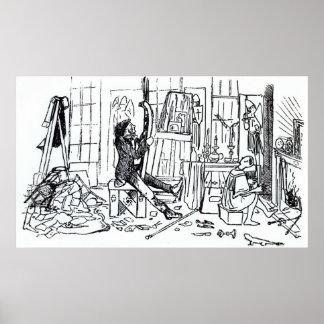 Edward Burne-Jones at work in his studio Poster