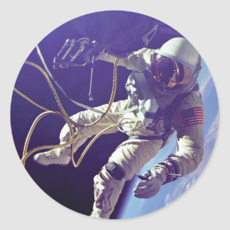 Edward H. White first American Space Walker NASA Classic Round Sticker
