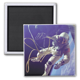 Edward H. White first American Space Walker NASA Square Magnet