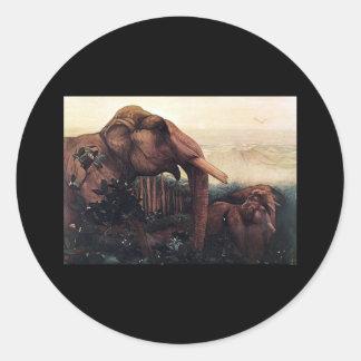 Edward Julius Detmold Elephant Round Stickers