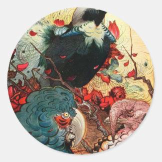 Edward Julius Detmold Jackdaw Round Sticker