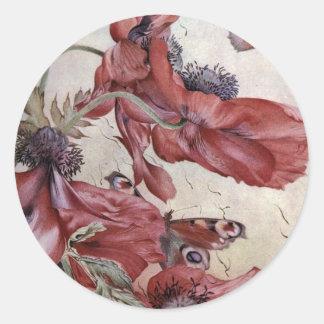 Edward Julius Detmold Poppies And Butterflies Round Stickers