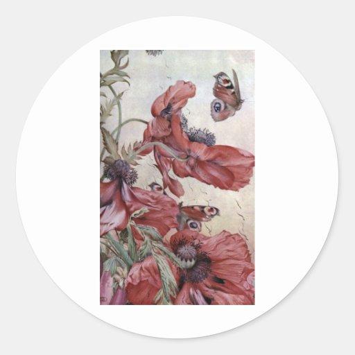 Edward Julius Detmold Poppies And Butterflies Sticker