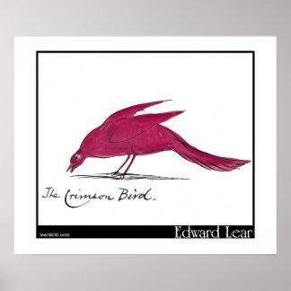 Edward Lear s Crimson Bird Print