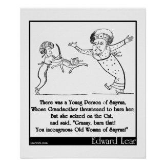 """Edward Lear """"Young Person of Smyrna"""" Limerick Posters"""