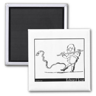 Edward Lear's Old Man with a flute Image Square Magnet