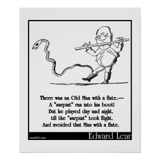 Edward Lear's Old Man with a flute Limerick Print