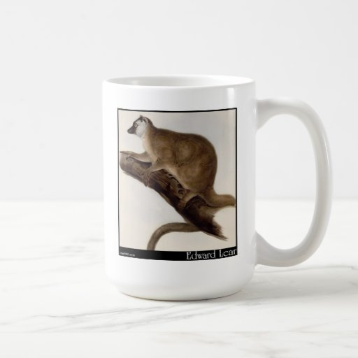 Edward Lear's Red Macauco (Red Lemur) Coffee Mugs