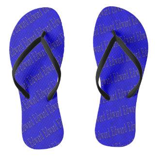 Edward Name Logo On Blue Mosaic, Flip Flops