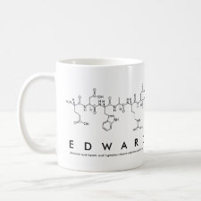 Mug featuring the name Edward spelled out in the single letter amino acid code