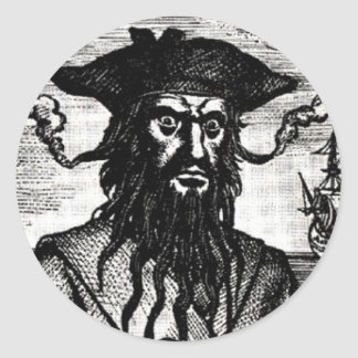 Edward Teach Portrait Round Sticker