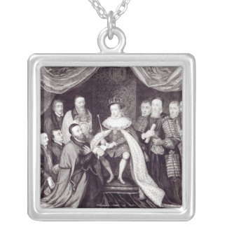Edward VI Granting the Charter Silver Plated Necklace