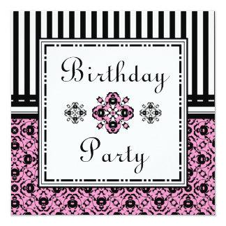 Edwardian Damask Birthday Party Pink Black Invites