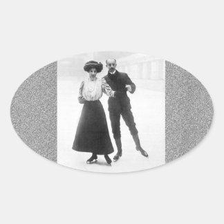 Edwardian Skaters Oval Sticker