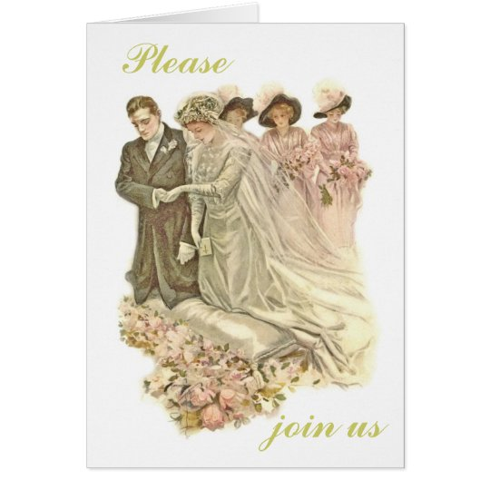 Edwardian, Vintage Wedding Card Invitation