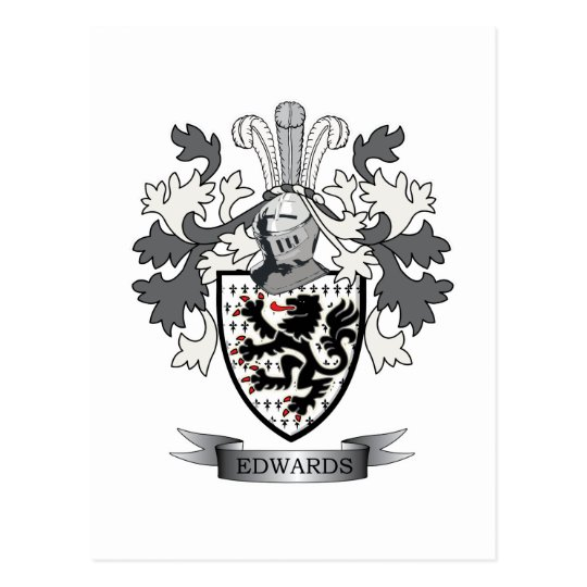 Edwards Family Crest Coat of Arms Postcard