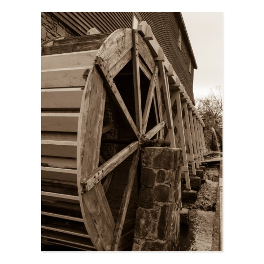 Edwards Water Wheel Sepia Postcard