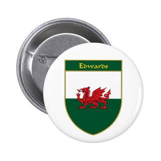 Edwards Welsh Flag Shield 6 Cm Round Badge